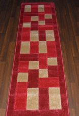 Modern Runners 60x220cm Aprox 8ft Hand Carved Super Quality Blocks Red/Beiges